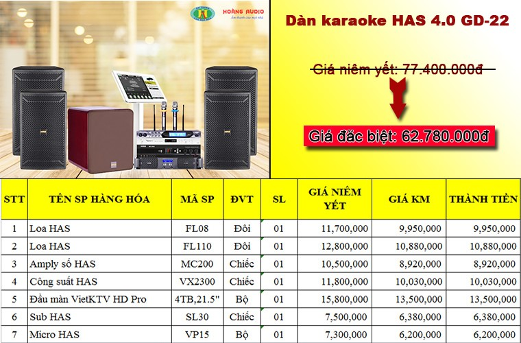 Post image for Bộ dàn karaoke HAS GD-22